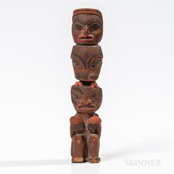 Northwest Coast Carved Wooden Model Totem Pole