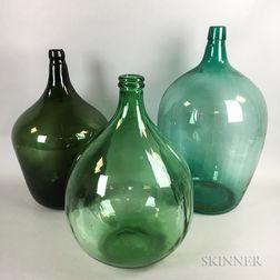 Three Aqua and Green Glass Bottles