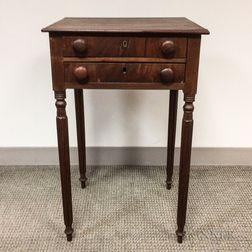 Late Federal Mahogany Veneer Two-drawer Worktable