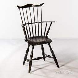 Black-painted Windsor Fan-back Armchair