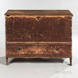 Red-painted Pine Chest-over-Drawer