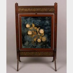 American Aesthetic Maple and Floral Needlework Paneled Firescreen