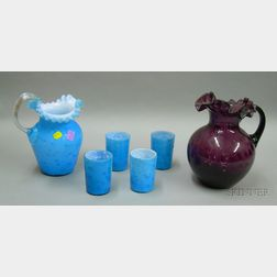 Five-piece Late Victorian Cased Blue and Mica Fleck Glass Juice Set and an Amethyst   Thumbprint Pattern Glass Pitcher