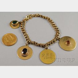 14kt Gold Charm Bracelet and an 1880 Liberty Head Five Dollar Gold Coin