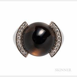 Cartier 18kt White Gold, Smoky Quartz, and Diamond Ring