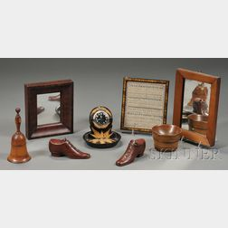 Eight Assorted Wood and Small Framed Items