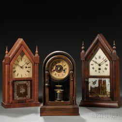 Three Miniature Connecticut Shelf Clocks