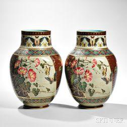 Pair of Sarreguemines Japonesque-style Earthenware Vases