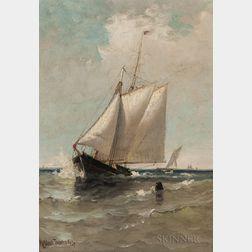 Marshall Johnson Jr. (American, 1850-1921)      Schooner Leaving a Harbor