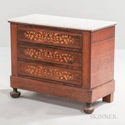 Marble-top, Rosewood-veneered, and Marquetry Table Cabinet