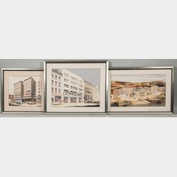 Peter Sainsbury (British, 20th Century)      Three Architectural Watercolor Renderings