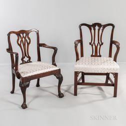 Two Georgian Mahogany Open Armchairs