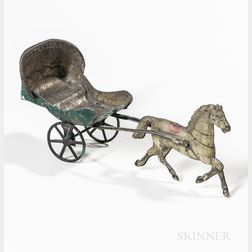 Painted Tin Toy Horse and Buggy