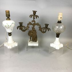 Two Glass Fluid Lamps and a Figural Two-light Lustre