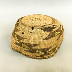 Northwest California Polychrome Basketry Hat