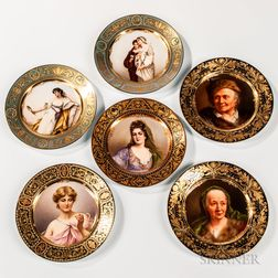 Six Royal Vienna Cabinet Plates with Gilded and Polychrome Enameled Hand-painted Portraits