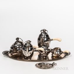 Georg Jensen Sterling Silver Blossom Pattern Tea and Coffee Service