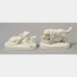 Pair of Parian Allegorical Figures of Dogs after Daniel Chester French