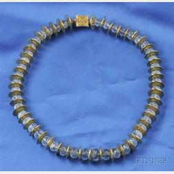 18kt Gold and Aquamarine Bead Necklace, Rebecca Koven