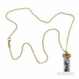 18kt Gold, Sapphire, and Diamond Pendant Necklace
