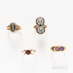 Four 14kt Gold Gem-set Rings