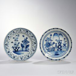 Two Dutch Delftware Blue and White Chargers