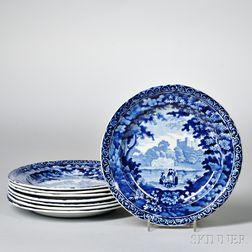Eight Blue Staffordshire Dessert Plates