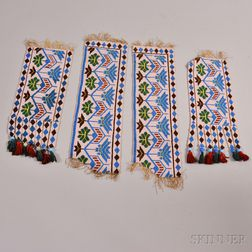 Four Fragments of a Great Lakes Loom-beaded Sash