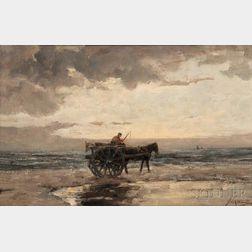 Jan Hillebrand Wijsmuller (Dutch, 1855-1925)      Horse-drawn Cart on Beach