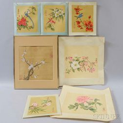 Seven Bird and Flower Watercolors