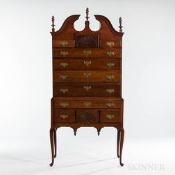 Cherry Scroll-top High Chest of Drawers
