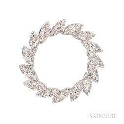 Platinum and Diamond Wreath Brooch