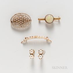 Three 14kt Gold Brooches and a Pair of Gold-filled and Cultured Pearl Earclips
