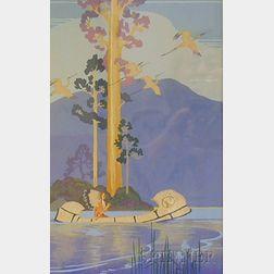 Lee Mero (American, b. 1885)      Indian in a Birch Canoe.