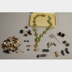 Gilt-metal Filigree and Cabochon Green Hardstone Necklace