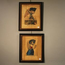 Two Framed Currier & Ives Hand-colored Patriotic Lithographs