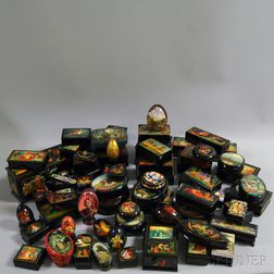 Large Collection of Russian Lacquerware