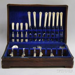 """Rogers """"Moonbeam"""" Sterling Silver Partial Flatware Service for Eight"""
