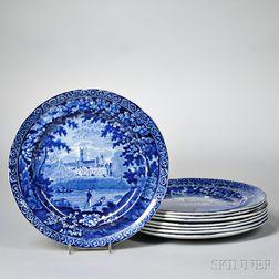 Eight Blue Staffordshire Dinner Plates