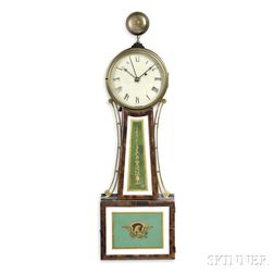 """Elnathan Taber Patent Timepiece or """"Banjo"""" Clock with Alarm"""