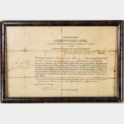 Governor Christopher Gore-signed Framed Commission