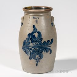 Four-gallon Cobalt-decorated Stoneware Churn