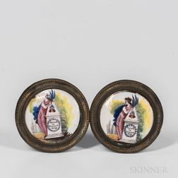 Pair Enamel Mirror Supports
