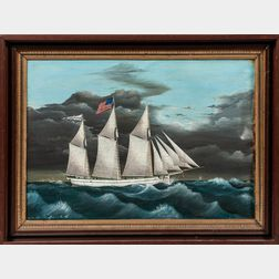 American School, Late 19th Century      Portrait of the Three-masted Vessel Watertown