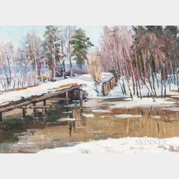 Dmitry Fedorovich Chumakov (Russian, 1913-c. 1980s)      Klyazma River Scene with Bridge