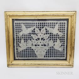 Framed Paper Cutwork Picture of Doves and Flowers