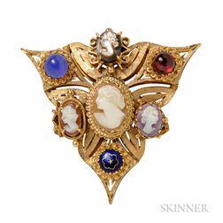 Victorian Revival 14kt Gold Pendant/Brooch