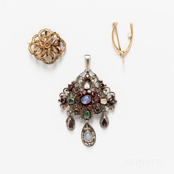 Two 14kt Gold Brooches and a Silver Gem-set Pendant