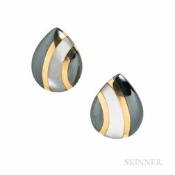 Asch Grossbardt 14kt Gold, Mother-of-pearl, and Hematite Earrings