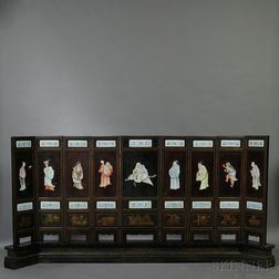 Nine-panel Porcelain Inlaid Lacquered Wood Screen